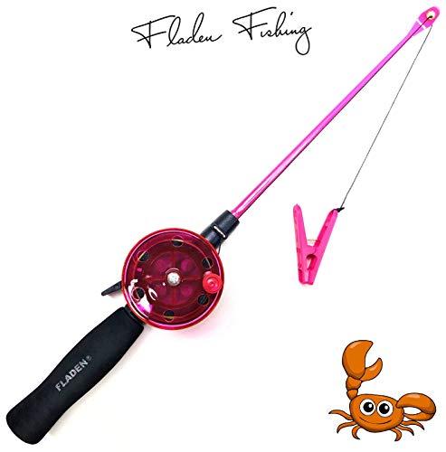 Fladen My-Fishing-World, canna da pesca per bambini, 40 cm, per la spiaggia e le vacanze, Cancro e granchi, con cordino incluso (rosa)