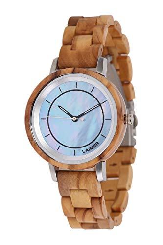 LAiMER Holzuhr - Damen Quarz Armbanduhr Klarissa aus Olivenholz - Analog, Zifferblatt aus Perlmutt, Leuchtzeiger, Ø 36mm - Zero Waste Verpackung aus Naturholz
