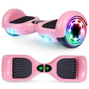 YHR Hoverboard 6,5 Pulgadas para niños y Adultos, Scooter eléctrico Inteligente de 2 Ruedas con LED de Colores, Auto…