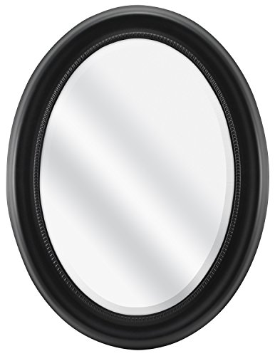 MCS Beaded Oval Wall Mirror, 22.5 x 29.5 Inch Overall Size, Black (65715)