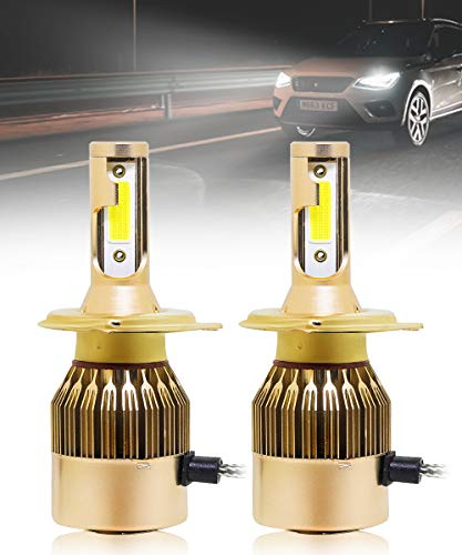 SPAIKO H4 50W/3800LM LED Bulb Super Slim Plug & Play All in One Compact Design Headlight Bulb Conversion Kit for Cars/Bikes/Scooty (Set of 2) ((C6 H4 50w) 6000K White LED Bulbs)