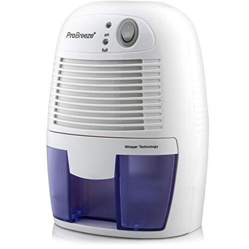 Pro Breeze Mini Deshumidificador 500ml, Silencioso y Portátil, Apagado automático, Antihumedad. contra Moldes y Humedad. Ideal para habitación, Baño, Cocina, Garaje