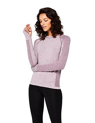 Marca Amazon - AURIQUE Camiseta Deportiva de Manga Larga sin Costuras Mujer, Morado (Purple Gumdrop Marl), 42, Label:L