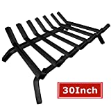 Black Wrought Iron Fireplace Log Grate 30 inch Wide Heavy Duty Solid Steel Indoor Chimney Hearth 3/4' Bar Fire Grates for Outdoor Fire Place Kindling Tools Pit Wood Stove Firewood Burning Rack Holder