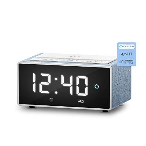 Energy Sistem Reloj despertador digital con Alexa integrado Smart Speaker Wake Up (10W, Cargador Qi, Wi-Fi, Bluetooth, Line-in, Spotify/Airplay)