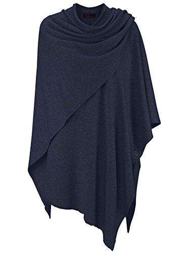 Zwillingsherz Poncho-Schal mit Kaschmir - Hochwertiges Cape für Damen - XXL Umhängetuch und Tunika mit Ärmel - Strick-Pullover - Sweatshirt - Stola für Sommer und Winter von Cashmere Dreams (Navy)