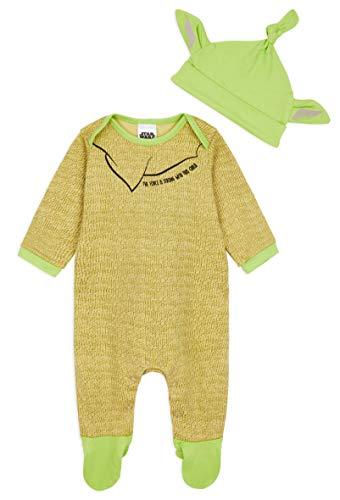 Star Wars Body Neonato 0-24 Mesi, Abbigliamento Prima Infanzia di Baby Yoda in Cotone con Cappello, Star Wars Merchandise Ufficiale, Idee Regali per Neonati (Verde, 3-6 Mesi)