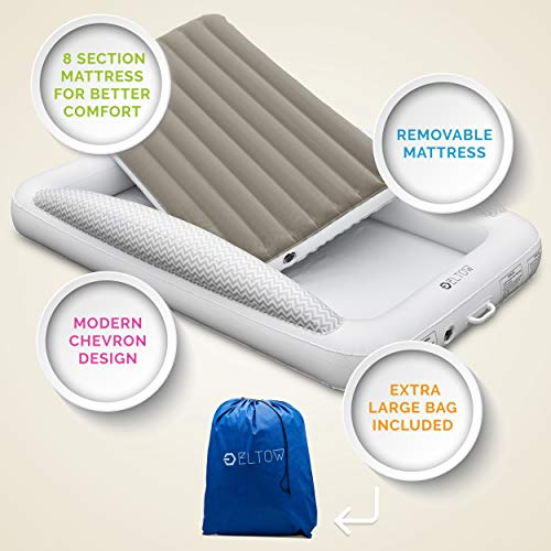 Product Image 5: Eltow Inflatable Toddler Air Mattress Bed With Safety Bumper - Portable, Modern Travel Bed, Cot for Toddlers - Perfect For Travel, Camping - Removable Mattress, High Speed Pump and Travel Bag Included
