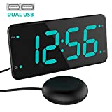 Extra Loud Alarm Clock with Bed Shaker, Vibrating Alarm Clock for Heavy Sleepers, Deaf and Hard of Hearing, Dual Alarm Clock with USB Charger, 7-Inch Display, Full Range Dimmer, Battery Backup - Green
