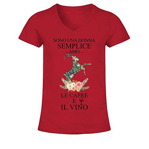 TEEZILY T-Shirt Collo a V Donna Sono Una Donna Semplice, Amo Le capre e Il Vino - Rosse - L