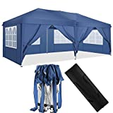 HOTEEL Canopy with Sides Pop Up Gazebo with Sides 10x20 Waterproof Gazebo Outdoor Garden Shelter, Heavy Duty, Choice of Colours, PVC Coated, Travel Bag and 6 Side Panels (10x20ft, Blue)