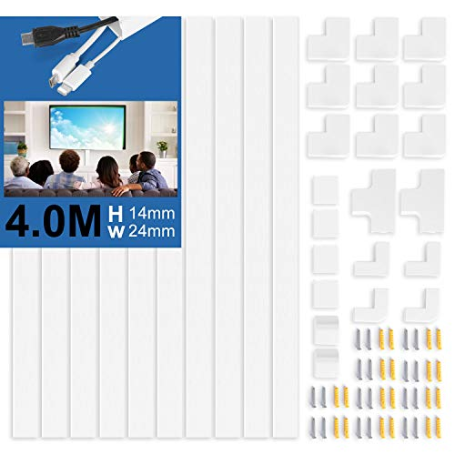 10 Stück Kabelkanal Selbstklebend Weiss   400cm PVC Kabelabdeckung, Kabelschacht zum verstecken von Kabel   TV Kabelkanal für alle Netzkabel in Haushalt/Büro (40cm*2,4cm*1,4cm)