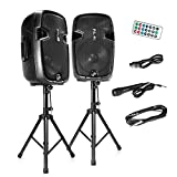 Wireless Portable PA Speaker System - 1800W High Powered Bluetooth Compatible Active + Passive Pair Outdoor Sound Speakers w/USB SD MP3 AUX - 35mm Mount, 2 Stand, Microphone, Remote - Pyle PPHP1249KT