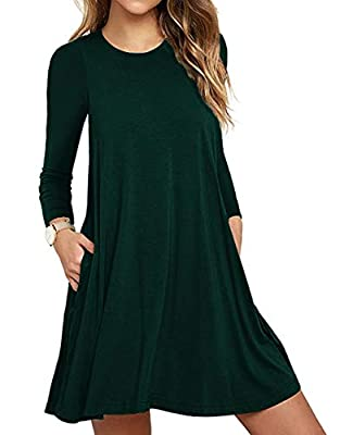 Size:X-Small/US 2-4,Small/US 4-6 ,Medium/US 8-10,Large/US 12-14,X-Large/US 16-18,XX-Large/US 20-22,XXX-Large/US 24 This soft comfy jersey knit lightweight tunic dress has a rounded neckline and long sleeve with hidden side seam pockets.Comfy swing si...