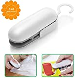 Mini Bag Sealer, Handheld Heat Vacuum Sealers, Bag Sealer Heat Seal, 2 in 1 Heat Sealer and Cutter Handheld Portable Bag Resealer Sealer for Bags Sealer