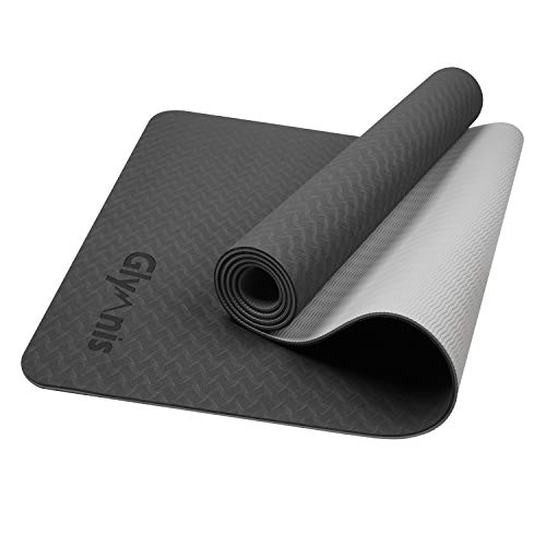 Glymnis Yoga Mat TPE Eco Friendly Double Sided High Resilience Non Slip Fitness Exercise Mat with Carrying Strap for Woman Man Yoga Pilates Gym Home -183 x 61 x 0.6cm (Black&Grey)