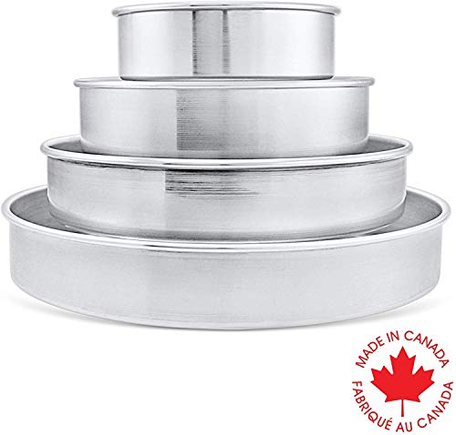Crown Cake Pan Set, 6, 8, 10, 12' by 2', Professional Cake Pans, Heavy Duty, Easy Release, Pure Aluminum