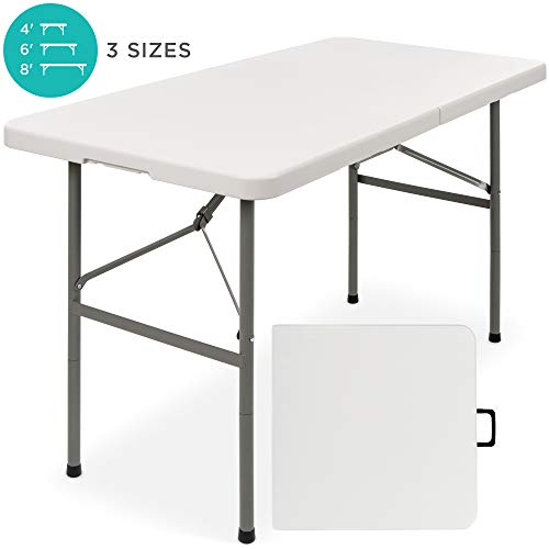 Best Choice Products 4ft Indoor Outdoor Portable Folding Plastic Dining Table w/Handle, Lock for Picnic, Party, Camping