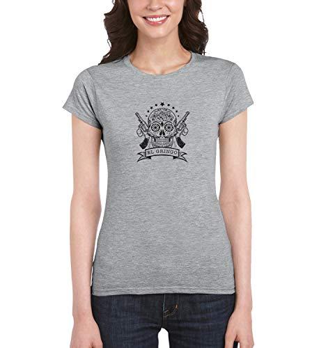 El Gringo Skull Gun_MRZ0910 Top t-Shirt 100% cotone per le donne, tee per l'estate, regalo, donna, camicia casual - grigio - XL
