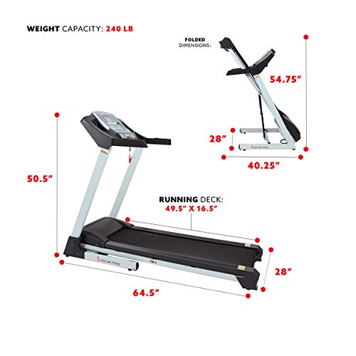 Sunny Health & Fitness SF-T7515 Smart Treadmill with Auto Incline, Sound System, Bluetooth and Phone Function 9