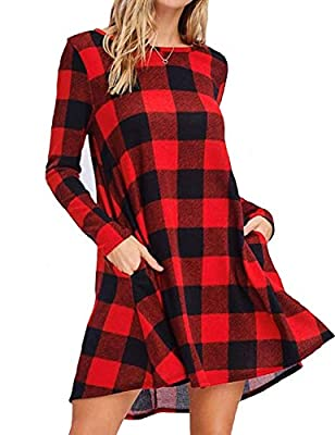 Material: Cotton & Polyester. Very Soft, Lightweight, Comfortable. Is Perfect For Spring/Fall/ Winter Days To Wear. Features: Adorable Red And Black Buffalo Check Pattern, Long Sleeve, O Neck, Pockets, A Line Design Casual Style Color Block And Check...