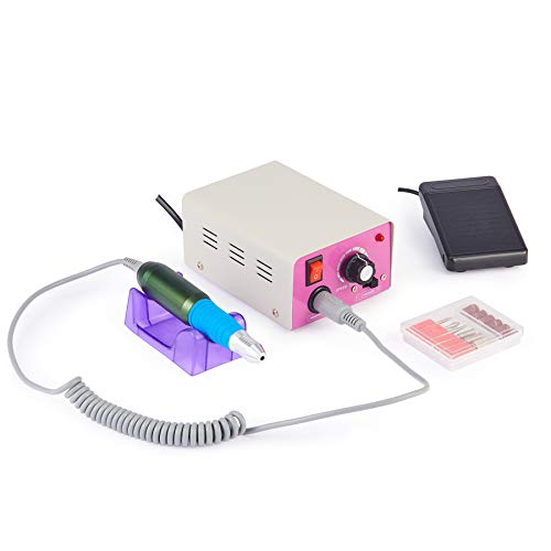 CO-Z Professional 25000 RPM Electric Acrylic Nail, Manicure, Pedicure, Drill File, Machine Gel Nail Remover, Grinder Tool with Polish Bits Set, Equipment for Home and Salon, Adjustable Speed, 110V