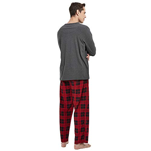 Vulcanodon Mens Cotton Pajama Set, Plaid Pajamas for Men Long Sleeve Sleepwear Warm Fleece Pjs Set with Pockets Soft
