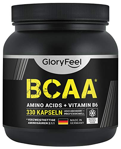 BCAA 330 Kapseln - Der VERGLEICHSSIEGER 2020*- Essentielle Aminosäuren Leucin, Valin und Isoleucin Plus Vitamin B6 - Laborgeprüft und ohne Zusätze hergestellt in Deutschland