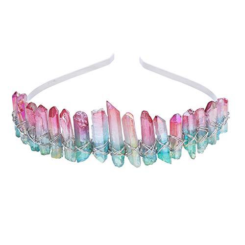 AWAYTR Raw Crystal Quartz Crown – Rhinestone Tiara Mermaid...