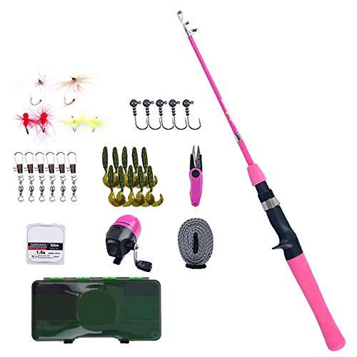 Set canne da pesca per bambini, kit combinato canna da pesca telescopica portatile e mulinello,canne da pesca per principianti Giovent per bambini Include attrezzatura da pesca, attrezzatura da pesca