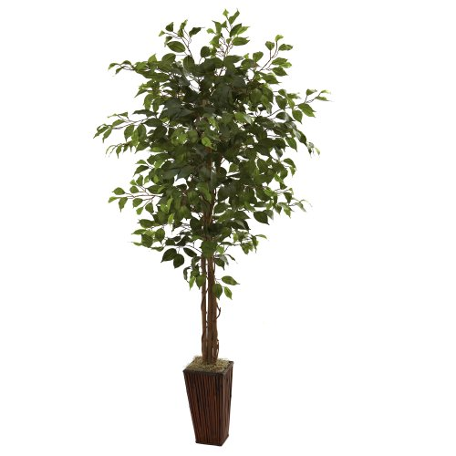 Nearly Natural 5931 6ft. Ficus Tree with Bamboo Planter,Green