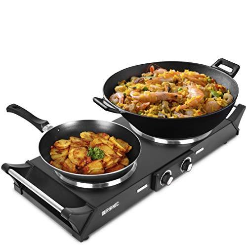 Duronic HP2 BK Plaque de cuisson chauffante électrique avec double foyer en fonte de 20 et 15 cm| 2500W | Compacte et mobile | Poignées ergonomiques | Thermostat | Camping, Camping-car, caravane