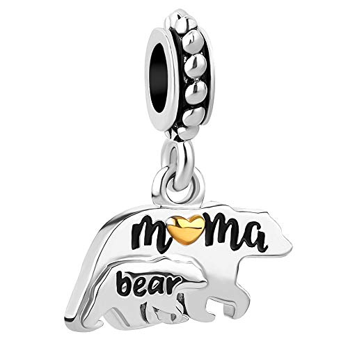 ShinyJewelry Mama Bear Mother Mom Baby Charm Dangle Bead for Bracelet
