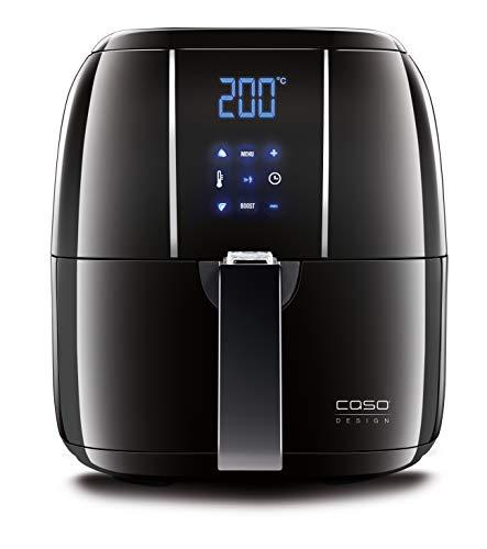 Caso | AF200 Heißluftfritteuse 3 L | 6 Programme, 60-200°C, gesünder frittieren ohne Öl/Fett, Edelstahl-Innenraum leicht zu reinigen, schwarz