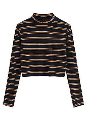 Rainbow striped print, elegant cropped tee, ribbed knit, casual long sleeve crop blouse Sexy and cute, perfect for pairing it with jeans,skinny pants Hand wash/Machine wash; Do not bleach Please refer to the size measurement in image before ordering ...