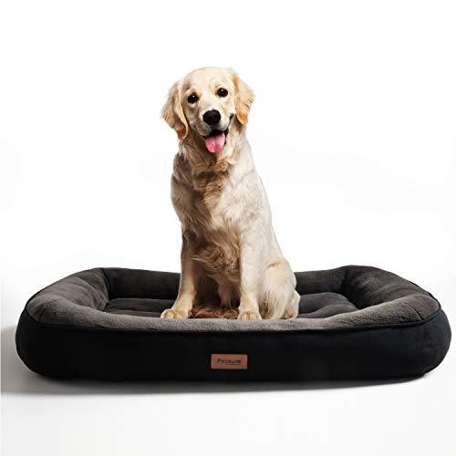 Bedsure Hundebett für große Hunde, Hundebetten niederige Ränder mit weiche Füllungen flauschig, auswählbar in Schwarz, Größe in 110x76 cm, 18 cm hoch