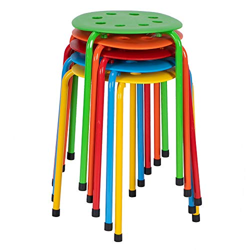 12.2 Inch Kid-Size Stack Bar Stool Set- Stackable Decoration Stools - Flexible Seating for Home, Children's Tables, School Classrooms - Plastic/Metal (Pack of 5) (Five Colors)