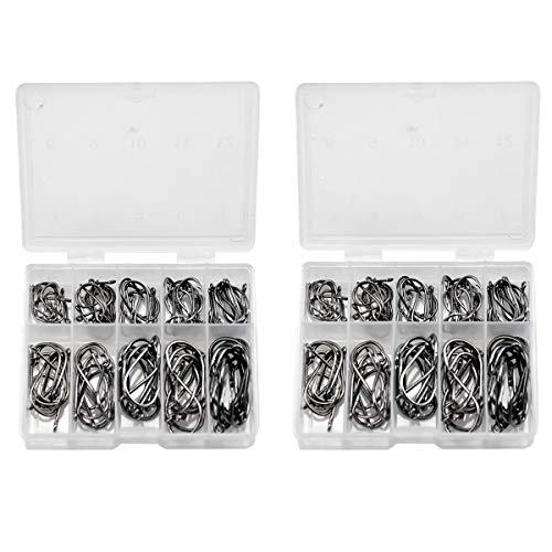 HQdeal Angelhaken, 200 Stück Kohlenstoffstahl Angelhaken mit Kunststoff Organizer Box, Angelhaken Mit Widerhaken,Haken mit Loch, angelzubehör Set(10 Größen)
