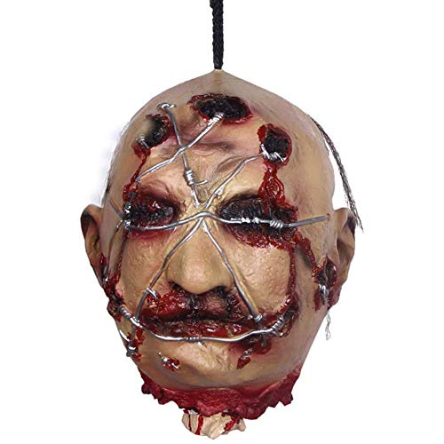 XXLYY Halloween Props Hanging Head Life Size Screaming Horror Scary Latex Bloody Dead Man Severed Head Haunted House Halloween Decoration,Tricky props (Kitchen & Home)
