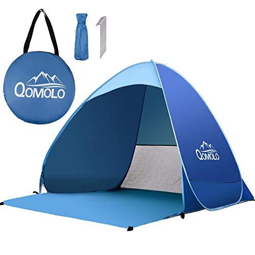 Qomolo Strandmuschel Pop-up Gartenzelt Strandzelt Extra Leicht UV Schutz 50+ Sonnenschutz Tragbar Wurf Strandmuschel für 1-3 Personen