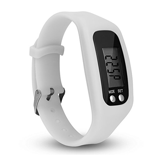LCD Pedometer Watch, Sport Calorie Step Walking Counter Monitor Wrist Smart Watch Activity Tracker Fitness Bracelet Wristband, Calendar, Chronograph, World Time(White)