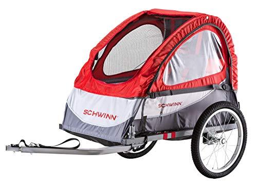 Schwinn Trailblazer Child Bike Trailer, Single Baby Carrier, Canopy, 16-inch Wheels, Red