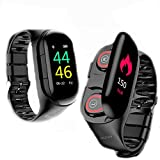 Smart Watch Dual Wireless Bluetooth Earbuds 2 in 1 IP67 Waterproof Touch Scree Smart Sport Bracelet Fitness Trackers Heart Rate Blood Pressure Monitor for Android & iOS Long Standby