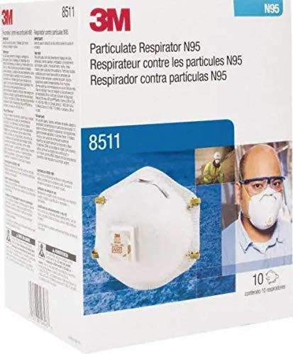 3M 8511 Particulate Respirators, N95, Cool-flow valve, Box of 10 (Packaging May Vary)