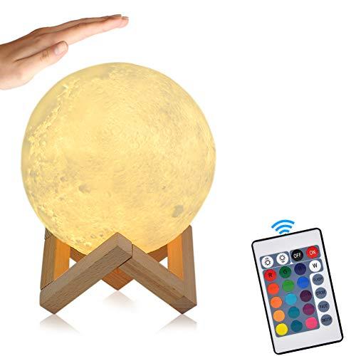 15cm LED Mond Lampe mit Fernbedienung Farbige Dekoleuchte 3D Mond Kunst LED RGB Mondlicht tragbares...