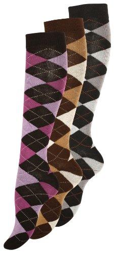 Lotto di 3paia di gambaletti in cotone da donna, motivo: quadretti Lila, gris, marron