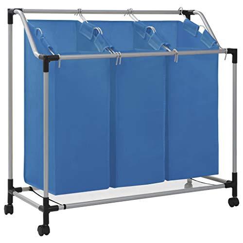 Cikonielf Rollender Wäschesortierer, Wäschekorb mit 3 Sortierbeuteln Griffen, Stahlrahmen, Wäschetrolley, Spielzeug-Organizer auf Rollen, 96x40 cm, maximale Belastung 20 kg, Blau