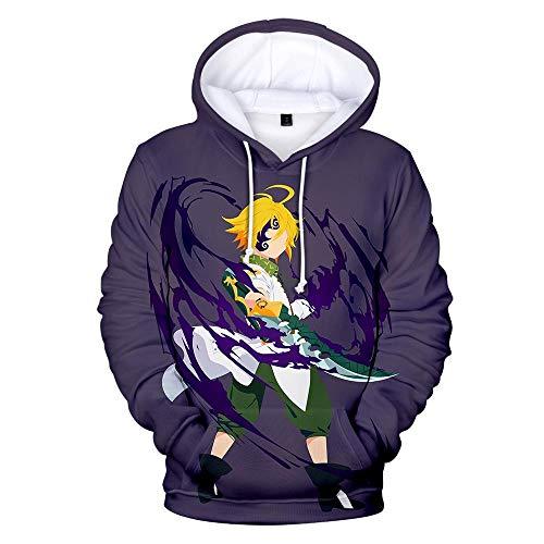 HNZQC Felpa A Manica Lunga con Cappuccio Pullover con Cappuccio Stampato 3D Personalizzato con Tema Anime Unisex I Sette Peccati Capitali S-5Xl-Crimine 9_S