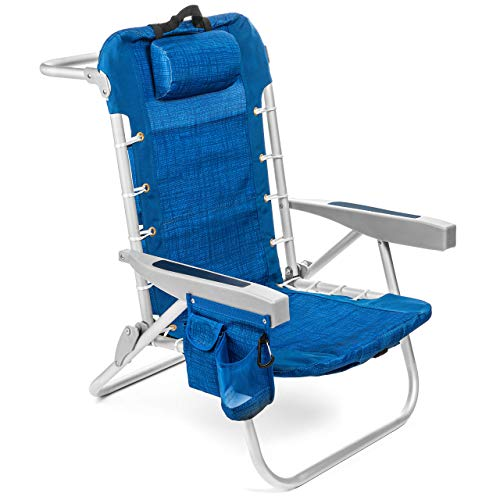Homevative Folding Backpack Beach Chair with 5 Positions,...