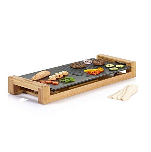 Princess Bambus Tischgrill/ Teppanyaki Grill - mit flacher und geriffelter Grillplatte (50x25cm) und 4 Holzspatel 103025 Table Chef Pure Duo Natur